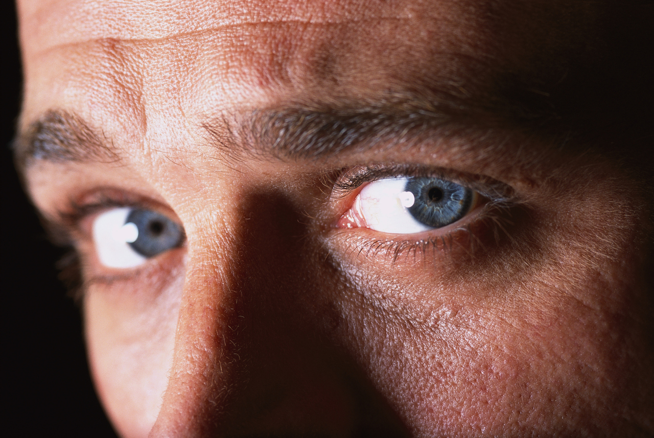 close-up of a man's eyes