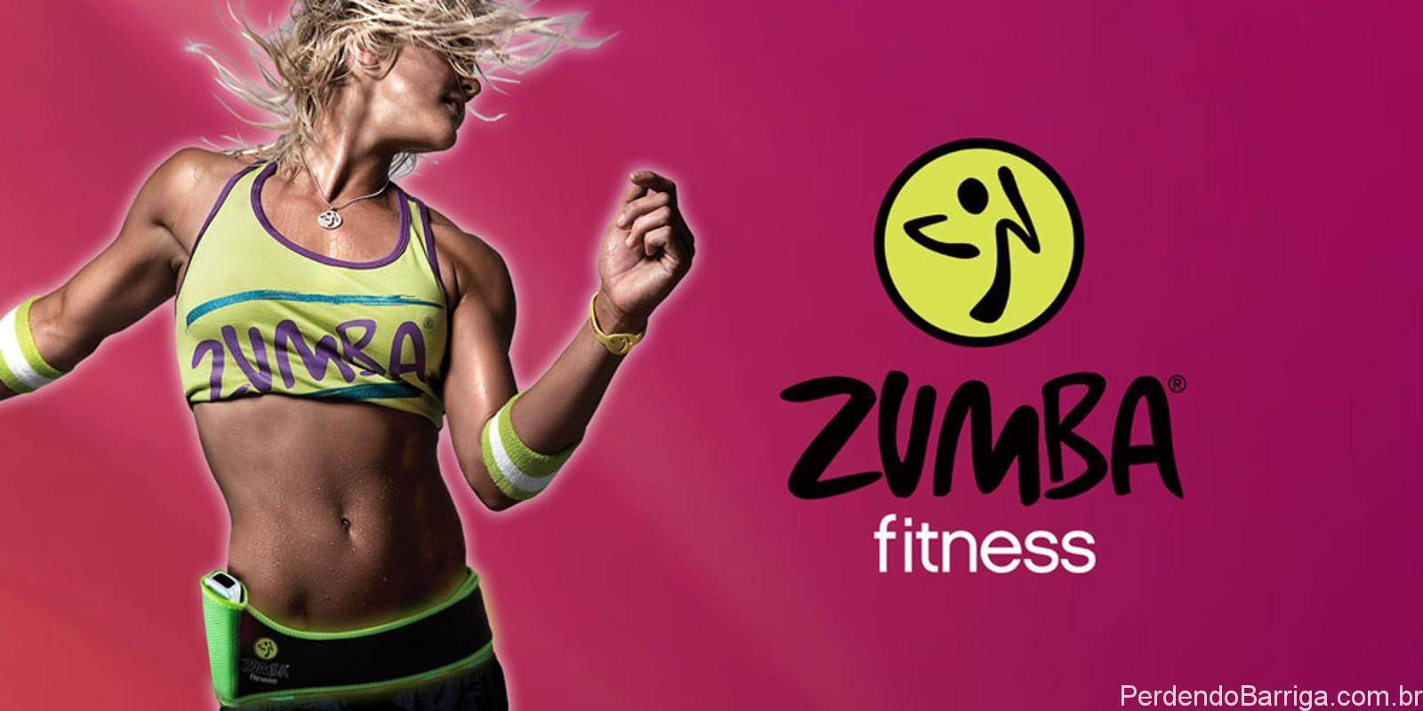 Zumba Fitness: Mulher dançando e logo da Zumba